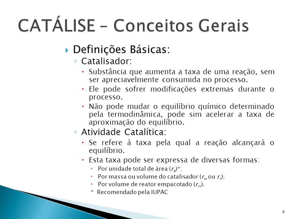 Definições Básicas: Catalisador: Substância que aumenta a taxa de uma reação, sem ser apreciavelmente consumida no processo. Ele pode sofrer modificaç