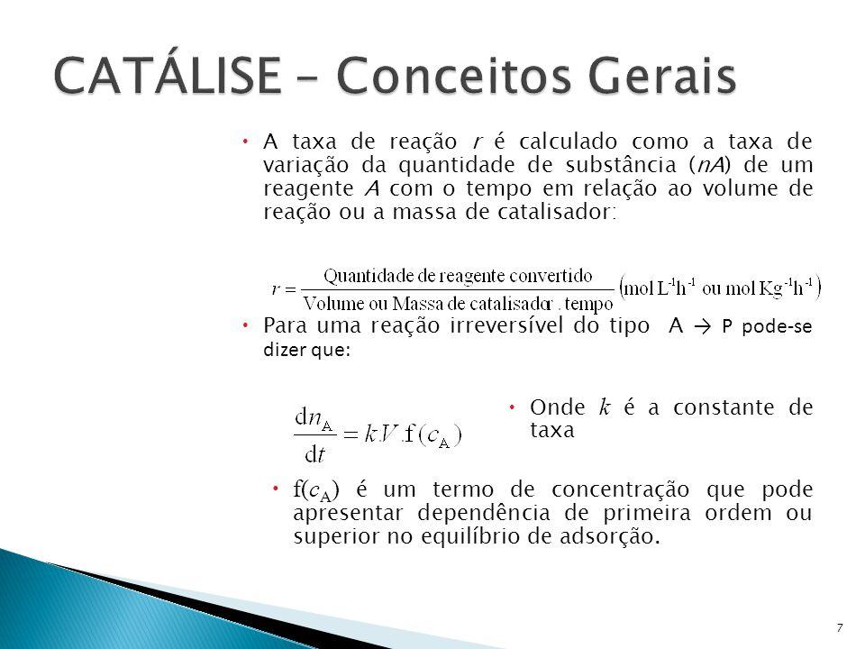 A taxa de reação r é calculado como a taxa de variação da quantidade de substância (nA) de um reagente A com o tempo em relação ao volume de reação ou
