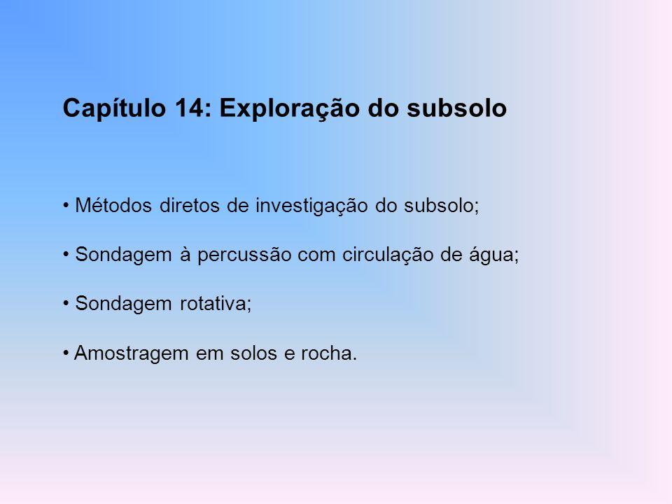 Capítulo 14: Exploração do subsolo Métodos diretos de investigação do subsolo; Sondagem à percussão com circulação de água; Sondagem rotativa; Amostra