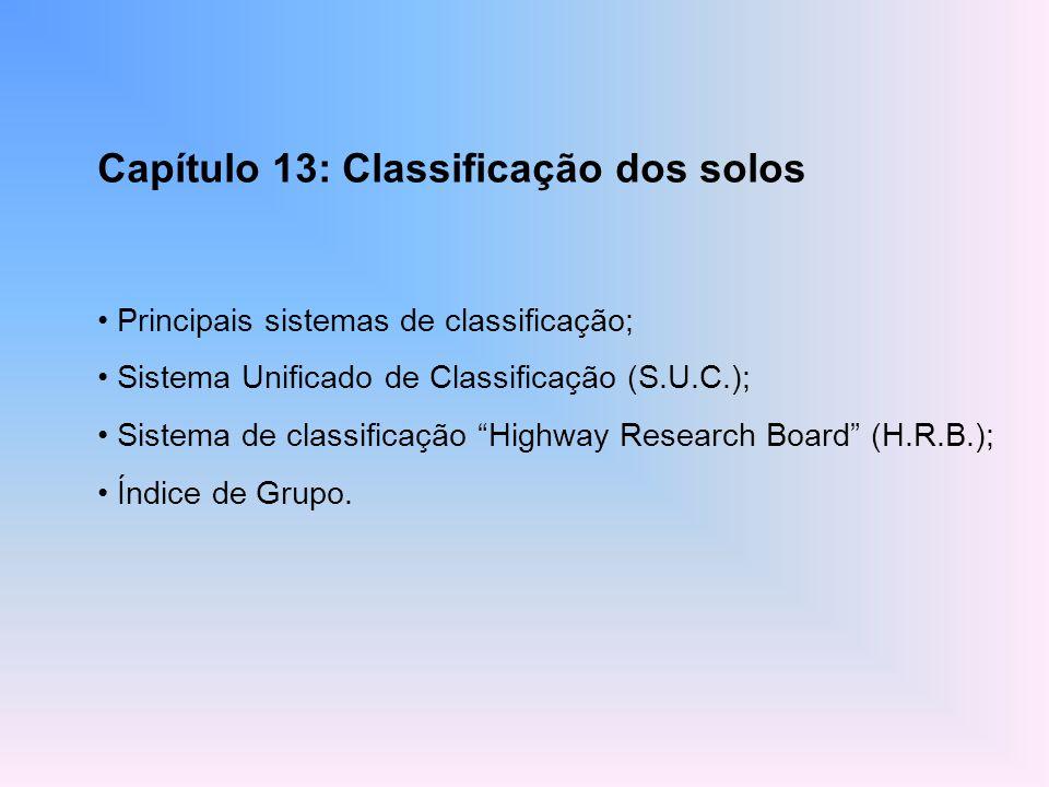 Capítulo 13: Classificação dos solos Principais sistemas de classificação; Sistema Unificado de Classificação (S.U.C.); Sistema de classificação Highw
