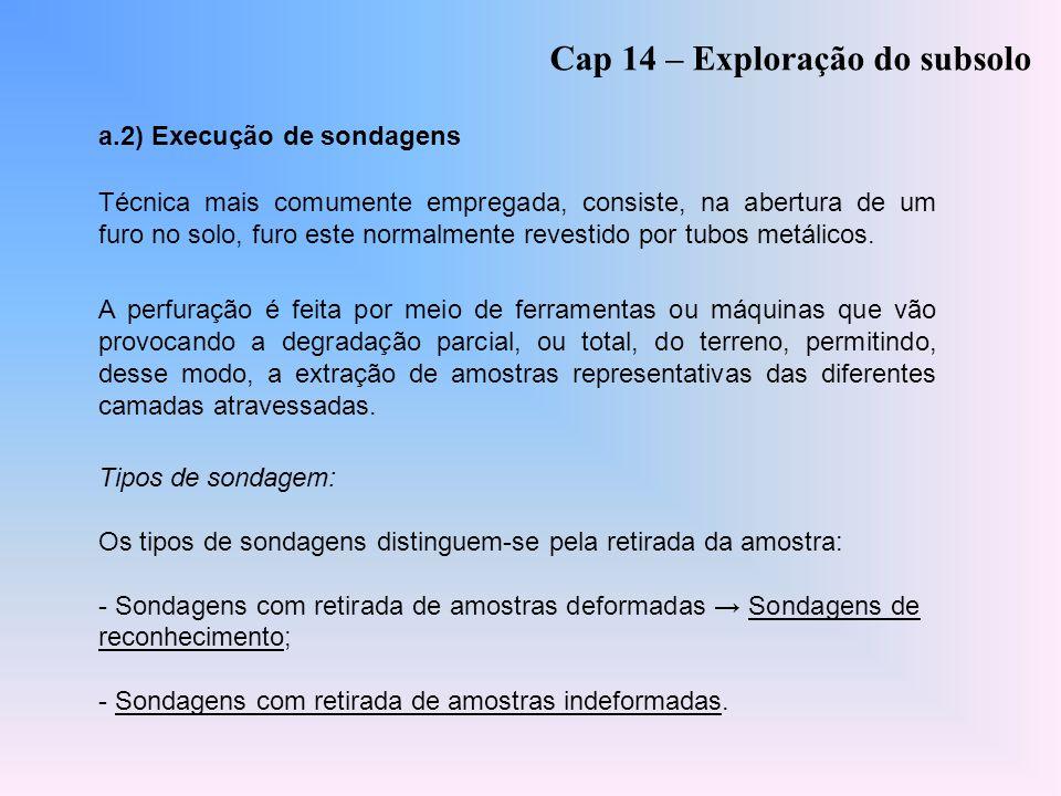 a.2) Execução de sondagens Cap 14 – Exploração do subsolo Técnica mais comumente empregada, consiste, na abertura de um furo no solo, furo este normal
