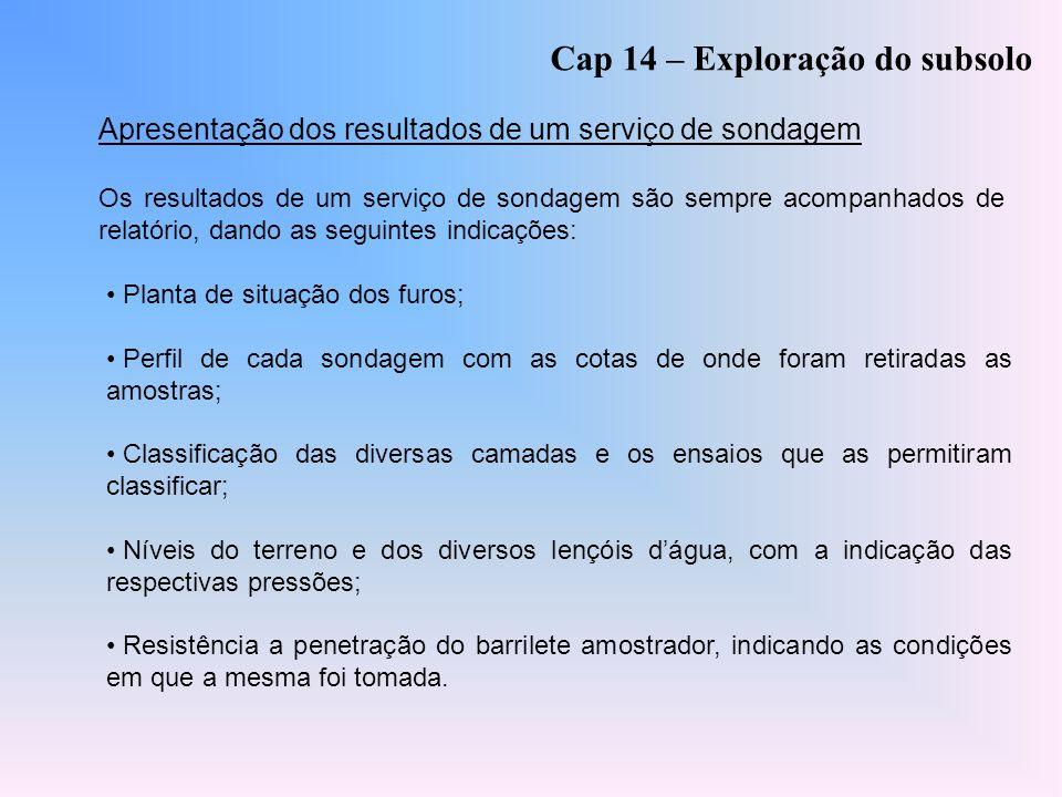 Cap 14 – Exploração do subsolo Apresentação dos resultados de um serviço de sondagem Os resultados de um serviço de sondagem são sempre acompanhados d