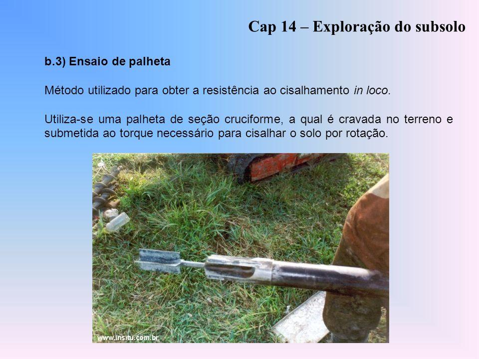 Cap 14 – Exploração do subsolo b.3) Ensaio de palheta Método utilizado para obter a resistência ao cisalhamento in loco. Utiliza-se uma palheta de seç