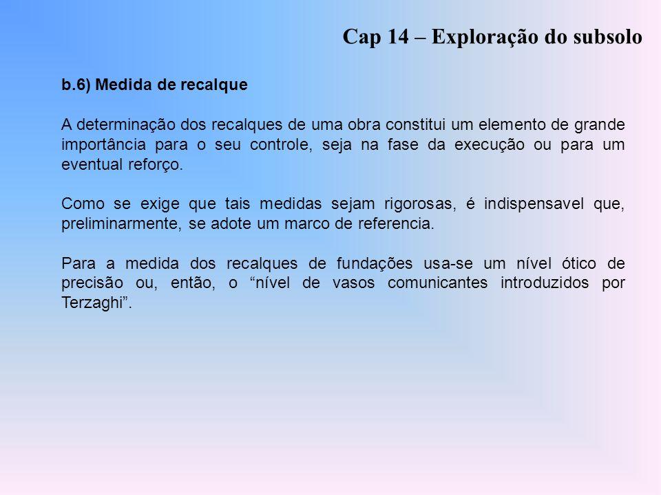 Cap 14 – Exploração do subsolo b.6) Medida de recalque A determinação dos recalques de uma obra constitui um elemento de grande importância para o seu