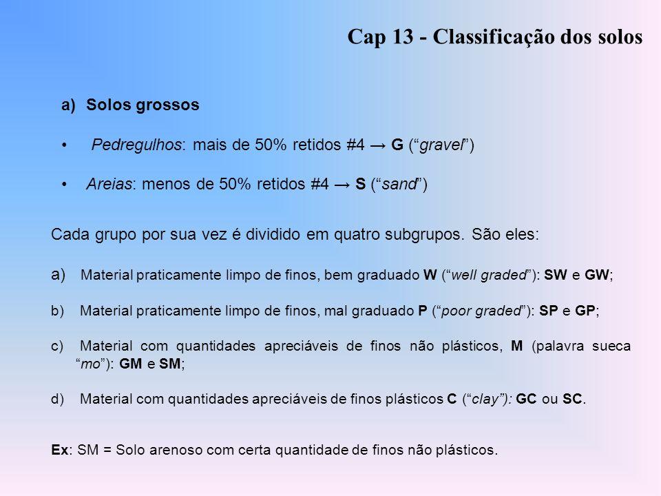 a)Solos grossos Pedregulhos: mais de 50% retidos #4 G (gravel) Areias: menos de 50% retidos #4 S (sand) Cap 13 - Classificação dos solos Cada grupo po