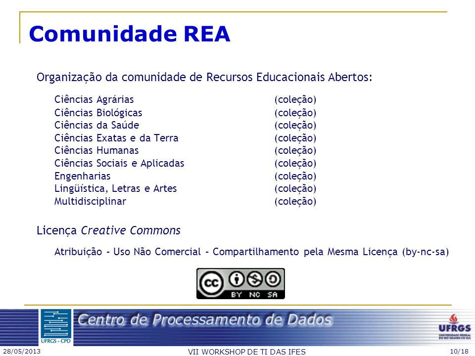 28/05/2013 VII WORKSHOP DE TI DAS IFES 10/18 Comunidade REA Organização da comunidade de Recursos Educacionais Abertos: Ciências Agrárias (coleção) Ci