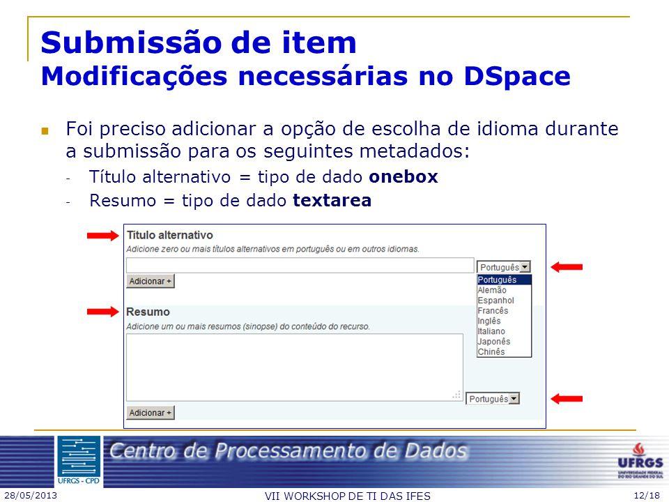 28/05/2013 VII WORKSHOP DE TI DAS IFES 12/18 Submissão de item Modificações necessárias no DSpace Foi preciso adicionar a opção de escolha de idioma d