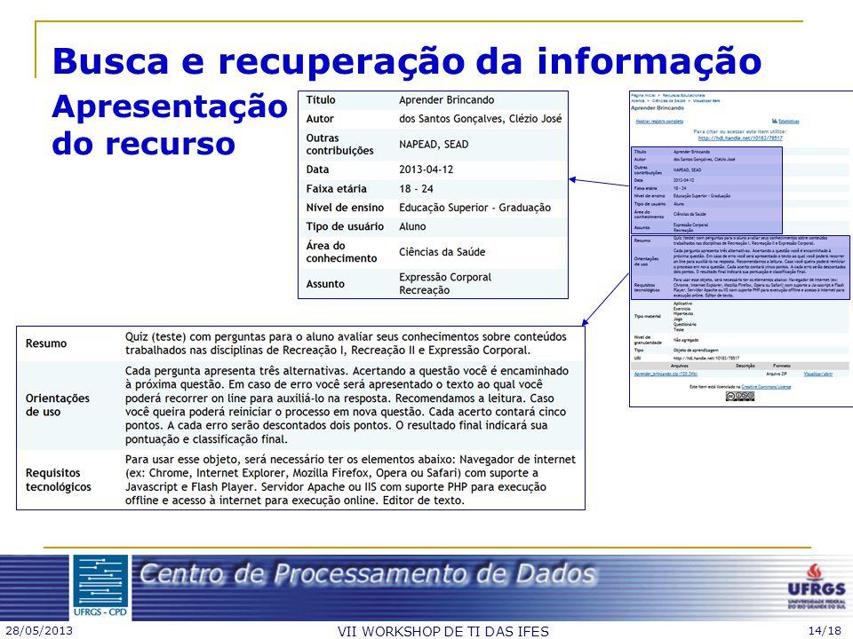 28/05/2013 VII WORKSHOP DE TI DAS IFES 14/18 Busca e recuperação da informação Apresentação do recurso