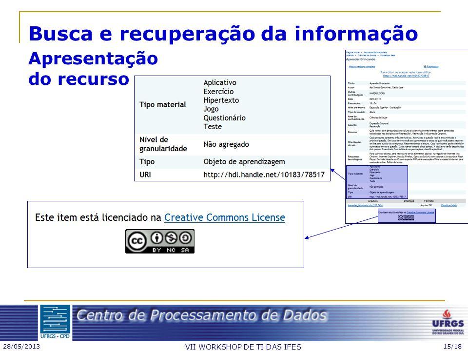 28/05/2013 VII WORKSHOP DE TI DAS IFES 15/18 Busca e recuperação da informação Apresentação do recurso