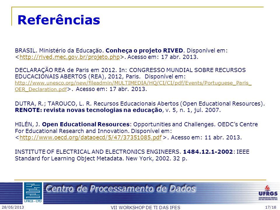 28/05/2013 VII WORKSHOP DE TI DAS IFES 17/18 Referências BRASIL. Ministério da Educação. Conheça o projeto RIVED. Disponível em:. Acesso em: 17 abr. 2
