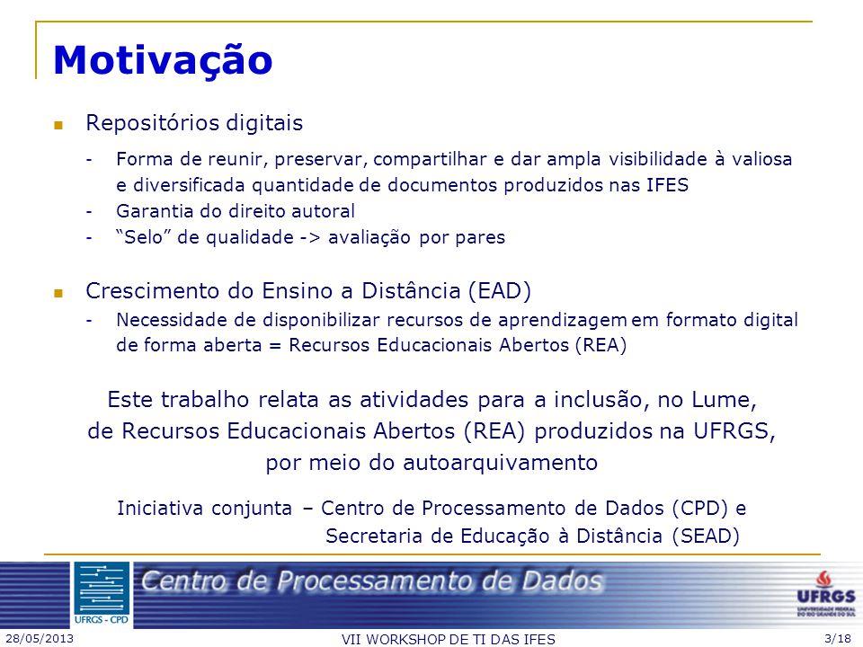 28/05/2013 VII WORKSHOP DE TI DAS IFES 3/18 Motivação Repositórios digitais - Forma de reunir, preservar, compartilhar e dar ampla visibilidade à vali