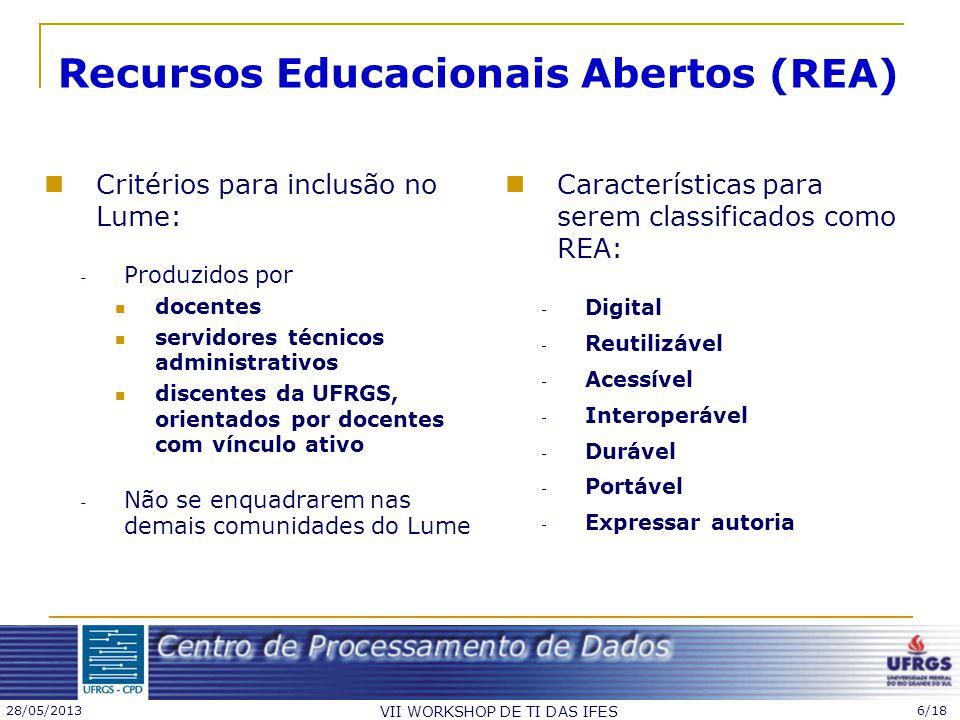 28/05/2013 VII WORKSHOP DE TI DAS IFES 6/18 Critérios para inclusão no Lume: - Produzidos por docentes servidores técnicos administrativos discentes d