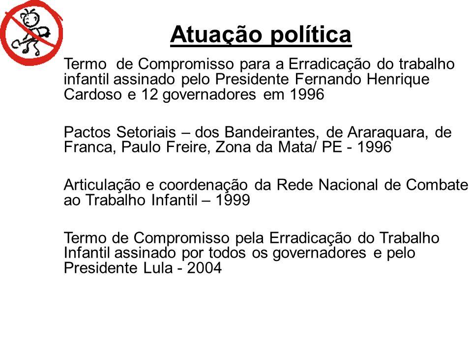 RANKING NACIONAL DO TRABALHO INFANTIL (5 a 14 ANOS) UFPopulação OcupadaTaxa de OcupaçãoPosição no Ranking Piauí57.3269,061 Rondônia26.6698,942 Tocantins21.8648,123 Ceará122.3497,414 Bahia200.7307,265 Acre11.0846,876 Rio Grande do Norte30.3355,677 Maranhão77.0215,638 Alagoas35.8995,419 Goiás55.9895,3810 Pernambuco85.8965,1611 Santa Catarina46.5684,9512 Minas Gerais159.7284,8213 Pará76.5854,7714 Mato Grosso23.3144,4615 Rio Grande do Sul64.4523,8616 Paraná68.1113,8217 Sergipe13.2583,6618 Amazonas27.1193,5819 Espírito Santo19.6993,3220 Paraíba21.5853,0421 Mato Grosso do Sul11.9552,7922 Amapá2.4741,7223 São Paulo93.8511,4924 Roraima1.2091,1825 Rio de Janeiro21.8260,9426 Distrito Federal 3.5930,8527 Brasil1.380.4894,180 Fonte: MPT/CE (PRT 7ª REGIÃO).