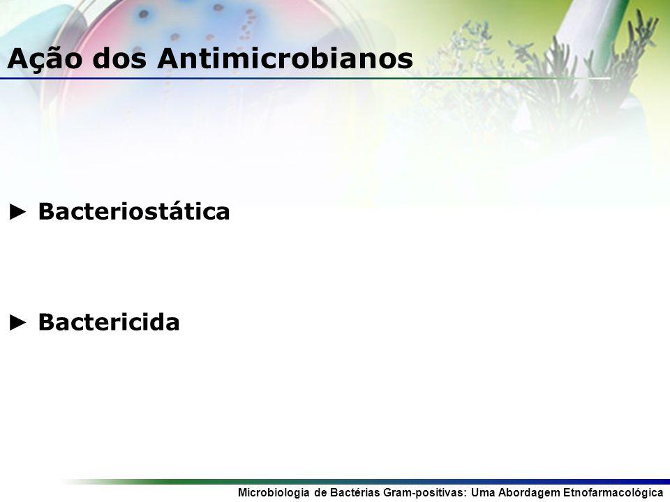 Microbiologia de Bactérias Gram-positivas: Uma Abordagem Etnofarmacológica Ação dos Antimicrobianos Bacteriostática Bactericida