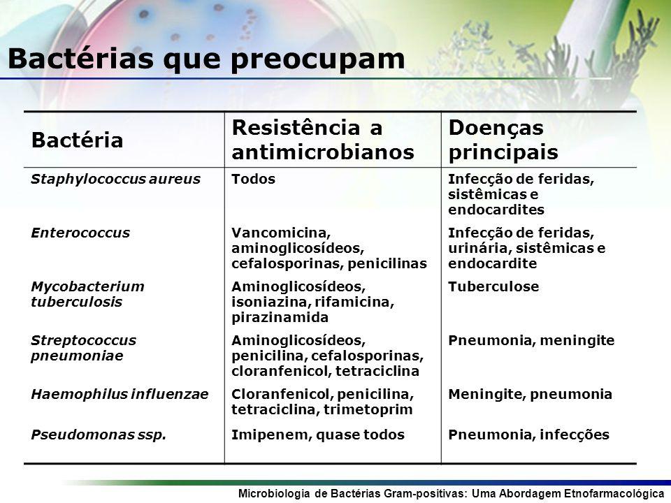 Microbiologia de Bactérias Gram-positivas: Uma Abordagem Etnofarmacológica Bactérias que preocupam Bactéria Resistência a antimicrobianos Doenças principais Staphylococcus aureusTodosInfecção de feridas, sistêmicas e endocardites EnterococcusVancomicina, aminoglicosídeos, cefalosporinas, penicilinas Infecção de feridas, urinária, sistêmicas e endocardite Mycobacterium tuberculosis Aminoglicosídeos, isoniazina, rifamicina, pirazinamida Tuberculose Streptococcus pneumoniae Aminoglicosídeos, penicilina, cefalosporinas, cloranfenicol, tetraciclina Pneumonia, meningite Haemophilus influenzaeCloranfenicol, penicilina, tetraciclina, trimetoprim Meningite, pneumonia Pseudomonas ssp.Imipenem, quase todosPneumonia, infecções