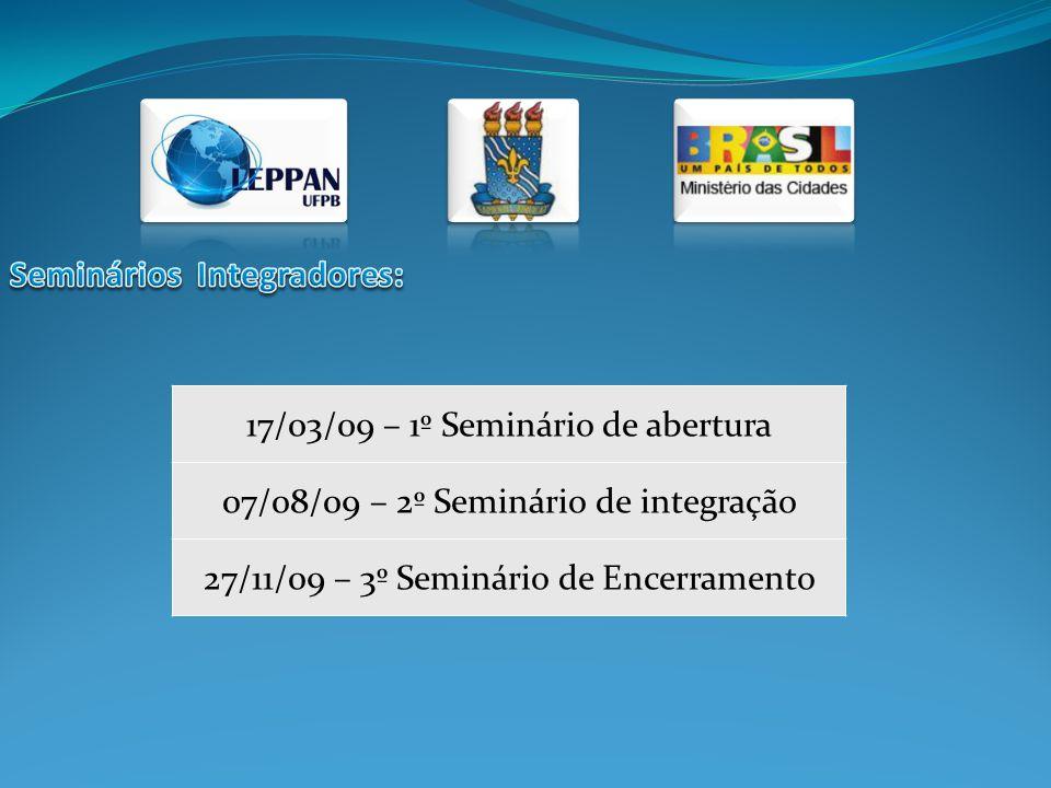 17/03/09 – 1º Seminário de abertura 07/08/09 – 2º Seminário de integração 27/11/09 – 3º Seminário de Encerramento