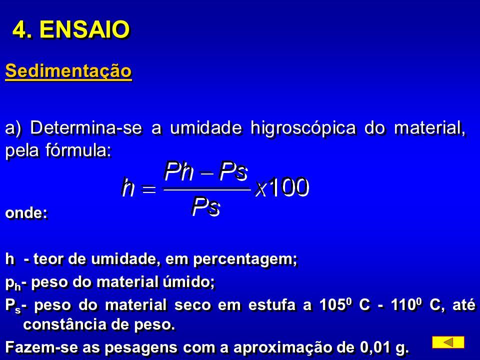 n) bécher de vidro com capacidade de 250 ml. 3. AMOSTRA A amostra para ensaio será obtida de acordo com o item 4 do método de Preparação de amostras d