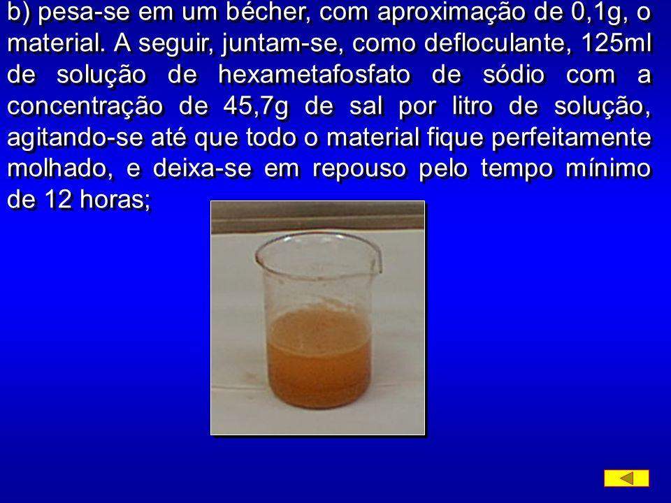 4. ENSAIO a) Determina-se a umidade higroscópica do material, pela fórmula: onde: h - teor de umidade, em percentagem; p h - peso do material úmido; P