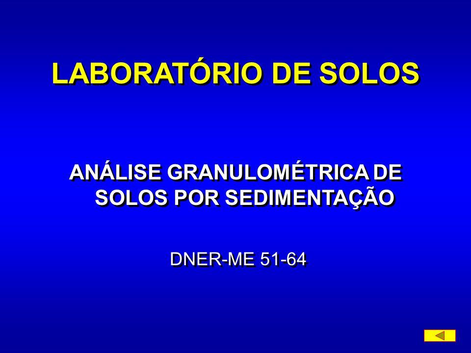 Diâmetro das partículas de solo em suspensão a) calcula-se o diâmetro máximo das partículas em suspensão, no momento de cada leitura do densímetro, pela fórmula (expressão da lei de Stokes): em que: d - diâmetro máximo das partículas, em mm; - coeficiente de viscosidade do meio dispersor (água), em g seg./cm 2 ; a - altura de queda das partículas, correspondentes à leitura do densímetro, em cm, obtida na curva de calibração do densímetro; t - tempo sedimentação, em seg.; - massa específica real do solo, em g/cm 3 ; a -densidade absoluta do meio dispersor, em g/cm 3.