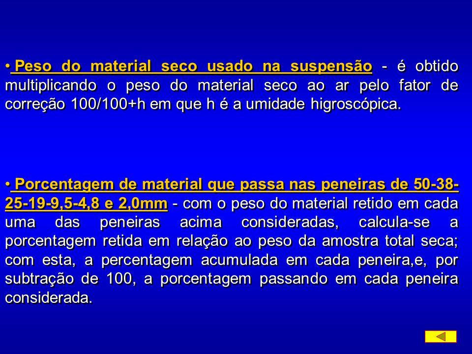 b) material retido na peneira de 2,0mm - pesa-se o material na peneira de 2,0mm. Passa-se este material nas peneiras de 50 - 38 - 25 - 19 - 9,5- 4,8 -