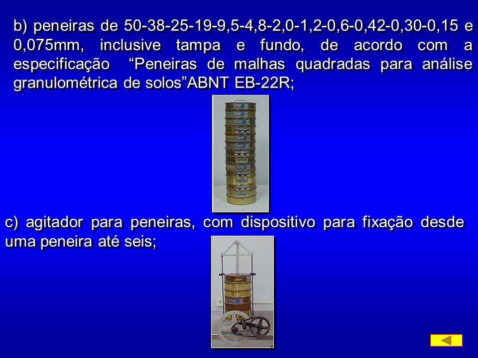 b) peneiras de 50-38-25-19-9,5-4,8-2,0-1,2-0,6-0,42-0,30-0,15 e 0,075mm, inclusive tampa e fundo, de acordo com a especificação Peneiras de malhas quadradas para análise granulométrica de solosABNT EB-22R; c) agitador para peneiras, com dispositivo para fixação desde uma peneira até seis;