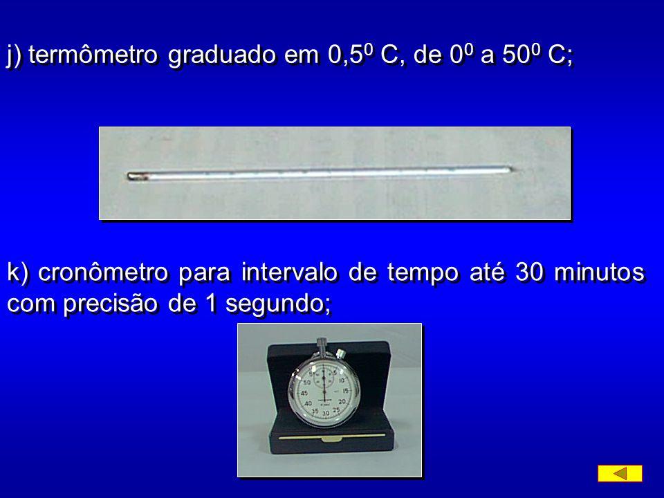 h) cápsula de porcelana com capacidade de 500ml; i) densímetro de bulbo simétrico a 20 0 C e graduado em 0,001, de 0,995 a 1,050;