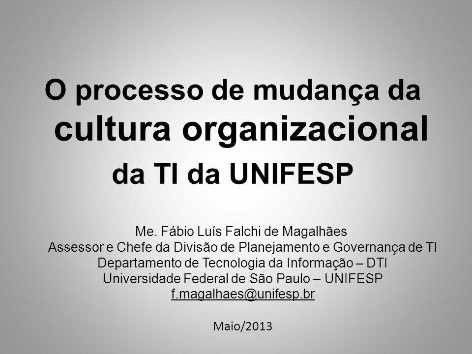 Objetivo Compartilhar a experiência na implantação da Divisão de Planejamento e Governança de TI do Departamento de Tecnologia da Informação – DTI a fim de apoiar na mudança de cultura organizacional da TI da UNIFESP.