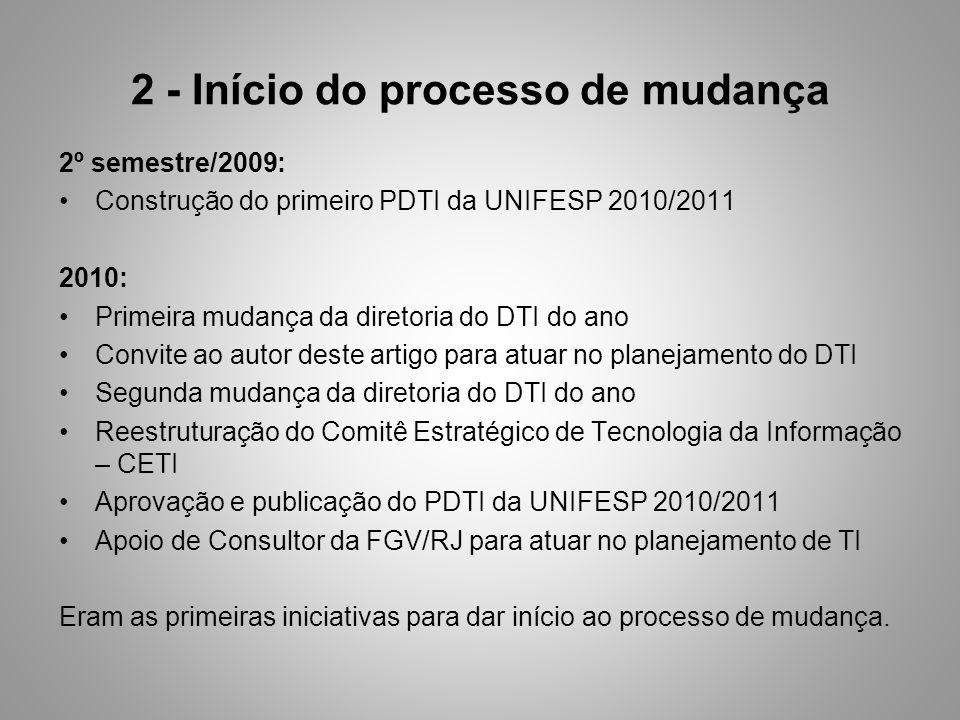 2 - Início do processo de mudança 2º semestre/2009: Construção do primeiro PDTI da UNIFESP 2010/2011 2010: Primeira mudança da diretoria do DTI do ano Convite ao autor deste artigo para atuar no planejamento do DTI Segunda mudança da diretoria do DTI do ano Reestruturação do Comitê Estratégico de Tecnologia da Informação – CETI Aprovação e publicação do PDTI da UNIFESP 2010/2011 Apoio de Consultor da FGV/RJ para atuar no planejamento de TI Eram as primeiras iniciativas para dar início ao processo de mudança.
