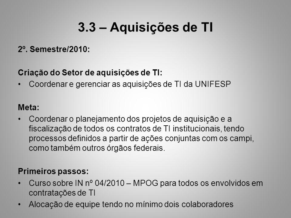 3.3 – Aquisições de TI 2º. Semestre/2010: Criação do Setor de aquisições de TI: Coordenar e gerenciar as aquisições de TI da UNIFESP Meta: Coordenar o
