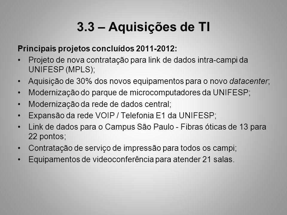 3.3 – Aquisições de TI Principais projetos concluídos 2011-2012: Projeto de nova contratação para link de dados intra-campi da UNIFESP (MPLS); Aquisição de 30% dos novos equipamentos para o novo datacenter; Modernização do parque de microcomputadores da UNIFESP; Modernização da rede de dados central; Expansão da rede VOIP / Telefonia E1 da UNIFESP; Link de dados para o Campus São Paulo - Fibras óticas de 13 para 22 pontos; Contratação de serviço de impressão para todos os campi; Equipamentos de videoconferência para atender 21 salas.
