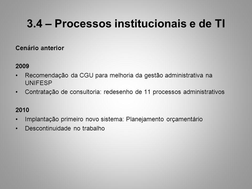 3.4 – Processos institucionais e de TI Cenário anterior 2009 Recomendação da CGU para melhoria da gestão administrativa na UNIFESP Contratação de consultoria: redesenho de 11 processos administrativos 2010 Implantação primeiro novo sistema: Planejamento orçamentário Descontinuidade no trabalho
