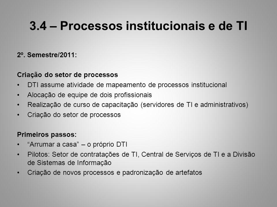 3.4 – Processos institucionais e de TI 2º. Semestre/2011: Criação do setor de processos DTI assume atividade de mapeamento de processos institucional