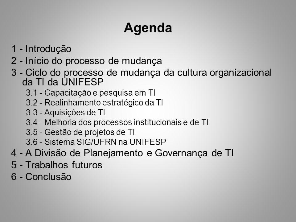 Agenda 1 - Introdução 2 - Início do processo de mudança 3 - Ciclo do processo de mudança da cultura organizacional da TI da UNIFESP 3.1 - Capacitação e pesquisa em TI 3.2 - Realinhamento estratégico da TI 3.3 - Aquisições de TI 3.4 - Melhoria dos processos institucionais e de TI 3.5 - Gestão de projetos de TI 3.6 - Sistema SIG/UFRN na UNIFESP 4 - A Divisão de Planejamento e Governança de TI 5 - Trabalhos futuros 6 - Conclusão