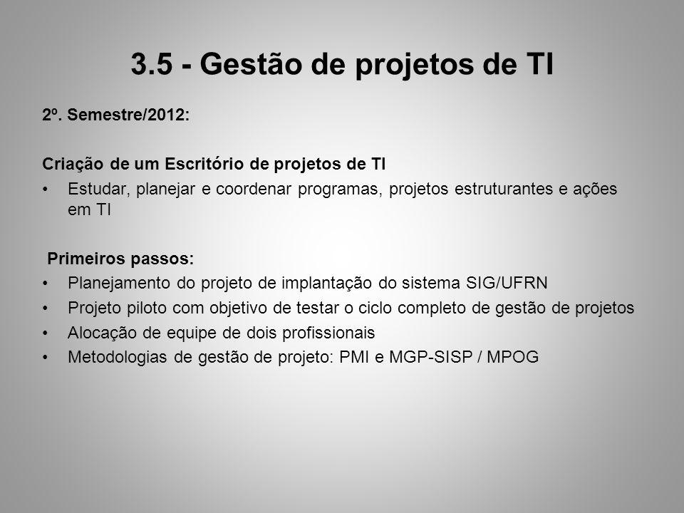 3.5 - Gestão de projetos de TI 2º. Semestre/2012: Criação de um Escritório de projetos de TI Estudar, planejar e coordenar programas, projetos estrutu