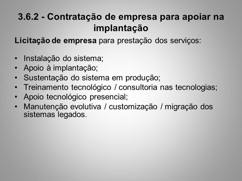 3.6.2 - Contratação de empresa para apoiar na implantação Licitação de empresa para prestação dos serviços: Instalação do sistema; Apoio à implantação