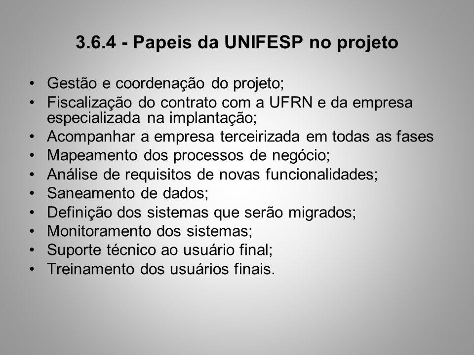 3.6.4 - Papeis da UNIFESP no projeto Gestão e coordenação do projeto; Fiscalização do contrato com a UFRN e da empresa especializada na implantação; A