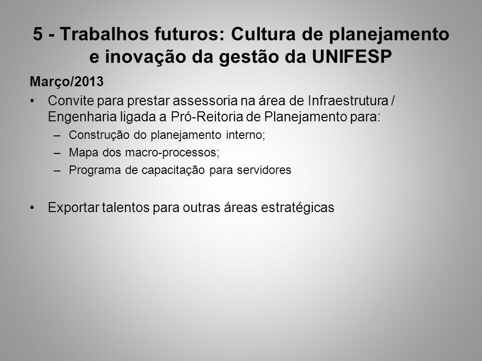 5 - Trabalhos futuros: Cultura de planejamento e inovação da gestão da UNIFESP Março/2013 Convite para prestar assessoria na área de Infraestrutura /