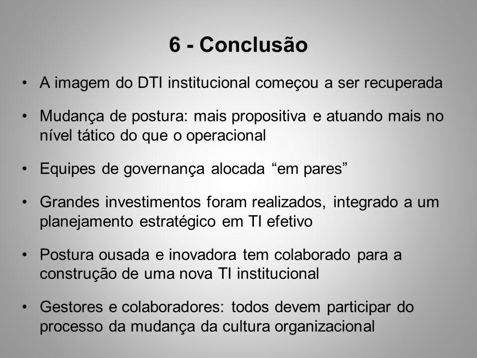 6 - Conclusão A imagem do DTI institucional começou a ser recuperada Mudança de postura: mais propositiva e atuando mais no nível tático do que o oper