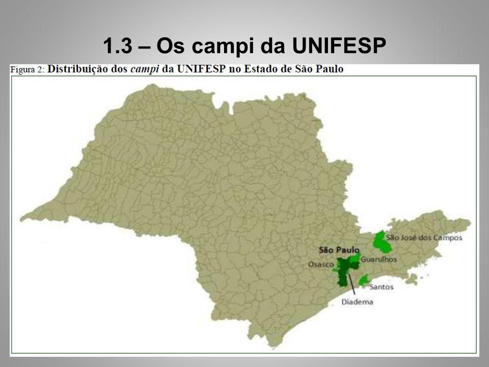 1.3 – Os campi da UNIFESP