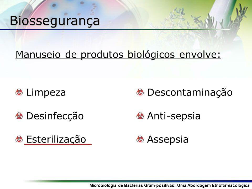 Microbiologia de Bactérias Gram-positivas: Uma Abordagem Etnofarmacológica Biossegurança Manuseio de produtos biológicos envolve: Limpeza Desinfecção Esterilização Descontaminação Anti-sepsia Assepsia