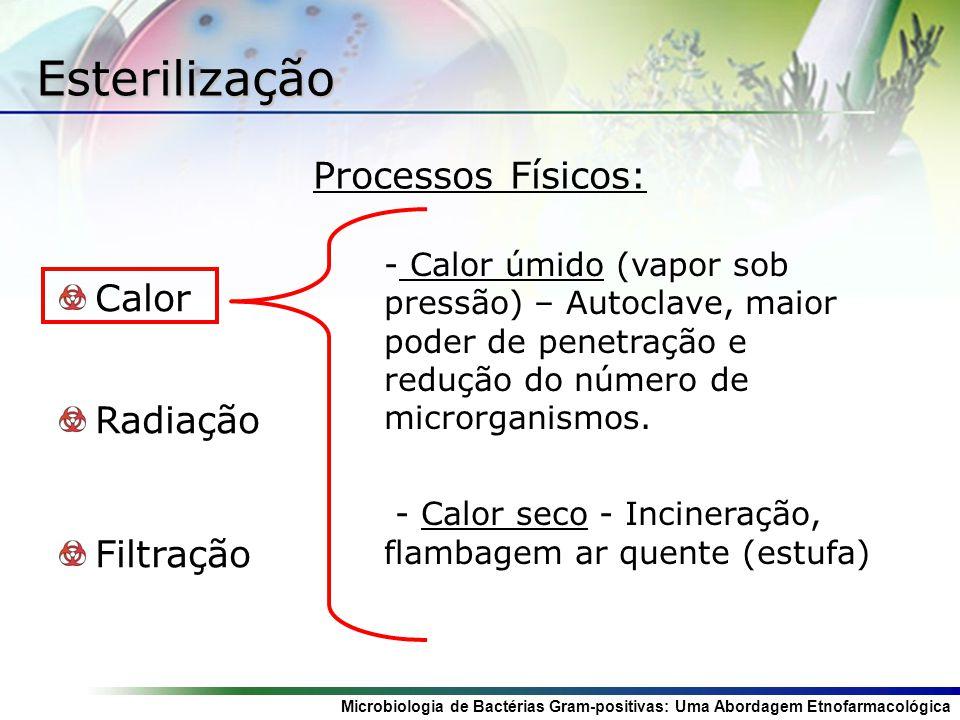 Microbiologia de Bactérias Gram-positivas: Uma Abordagem Etnofarmacológica Esterilização Calor Radiação Filtração - - Calor úmido (vapor sob pressão)