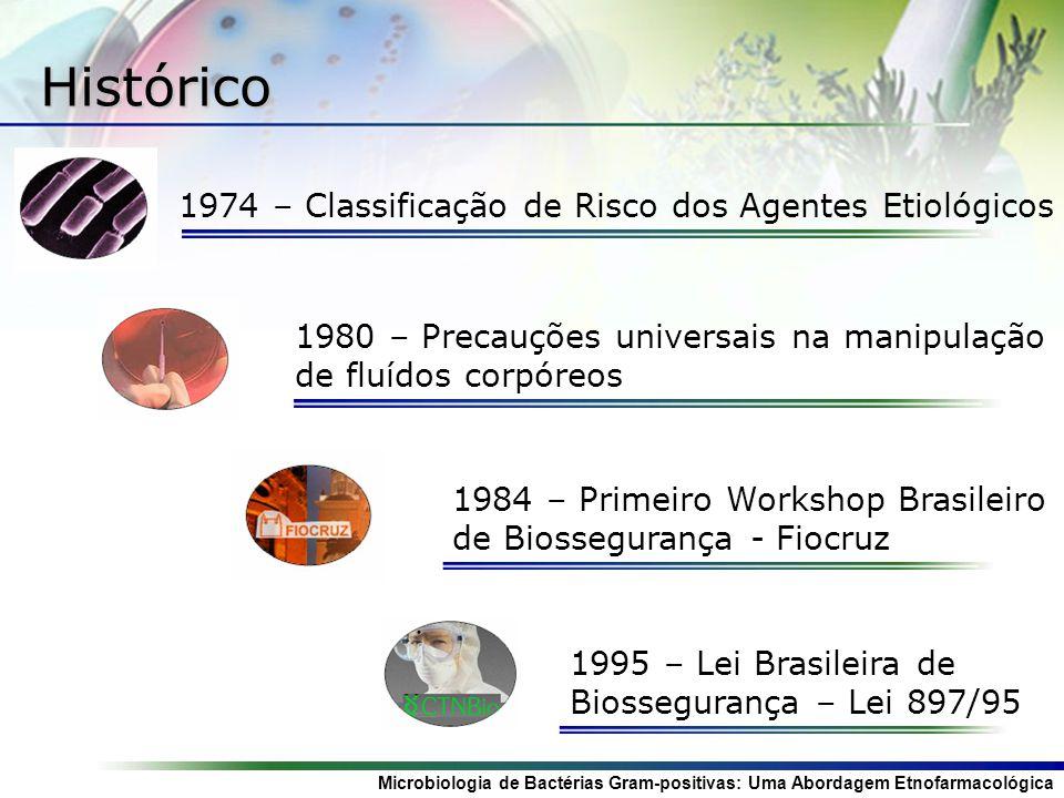 Histórico 1974 – Classificação de Risco dos Agentes Etiológicos 1980 – Precauções universais na manipulação de fluídos corpóreos 1984 – Primeiro Works