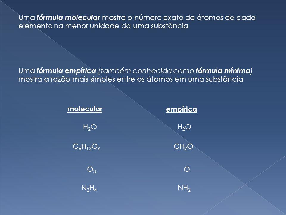 Uma fórmula molecular mostra o número exato de átomos de cada elemento na menor unidade da uma substância Uma fórmula empírica (também conhecida como fórmula mínima ) mostra a razão mais simples entre os átomos em uma substância H2OH2O H2OH2O molecular empírica C 6 H 12 O 6 CH 2 O O3O3 O N2H4N2H4 NH 2
