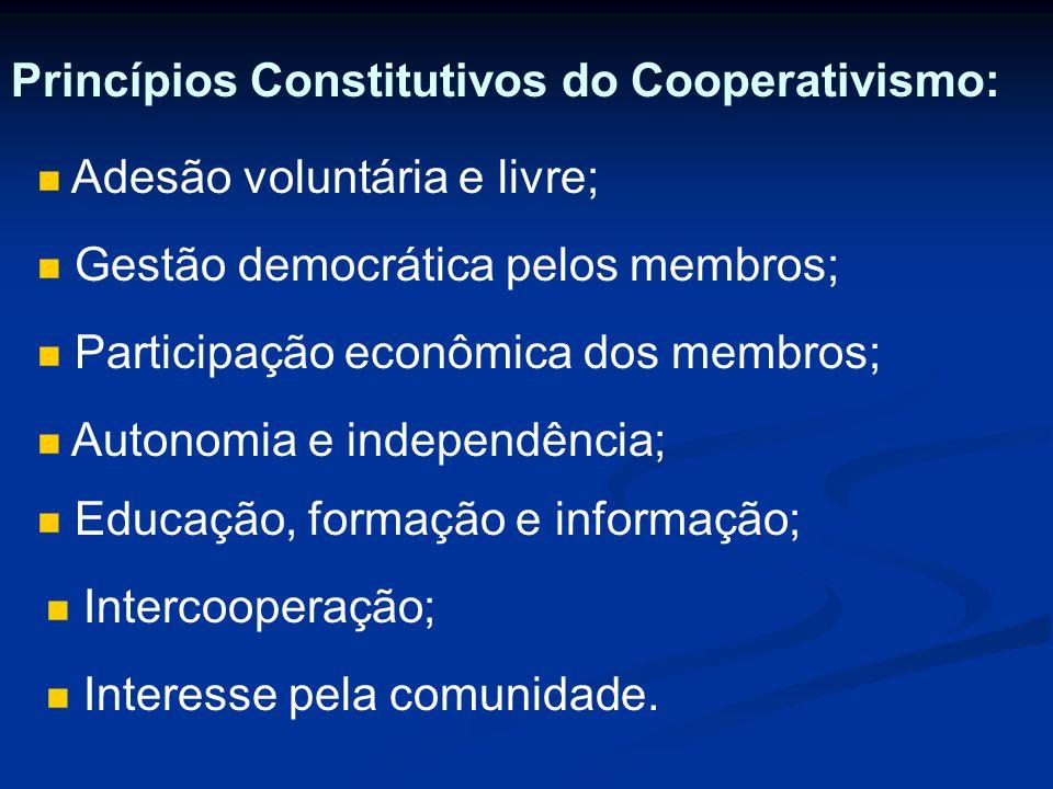 Princípios Constitutivos do Cooperativismo: Adesão voluntária e livre; Gestão democrática pelos membros; Participação econômica dos membros; Autonomia