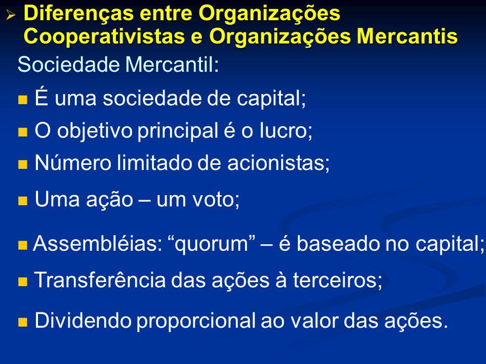 Diferenças entre Organizações Cooperativistas e Organizações Mercantis Diferenças entre Organizações Cooperativistas e Organizações Mercantis Sociedad