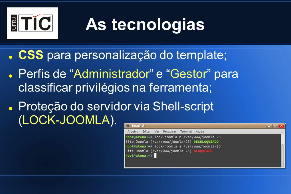 As tecnologias CSS para personalização do template; Perfis de Administrador e Gestor para classificar privilégios na ferramenta; Proteção do servidor