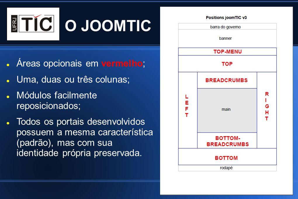 O JOOMTIC Áreas opcionais em vermelho; Uma, duas ou três colunas; Módulos facilmente reposicionados; Todos os portais desenvolvidos possuem a mesma ca