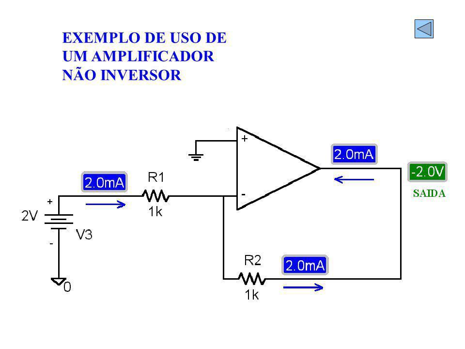 EXEMPLO DE USO DE UM AMPLIFICADOR NÃO INVERSOR