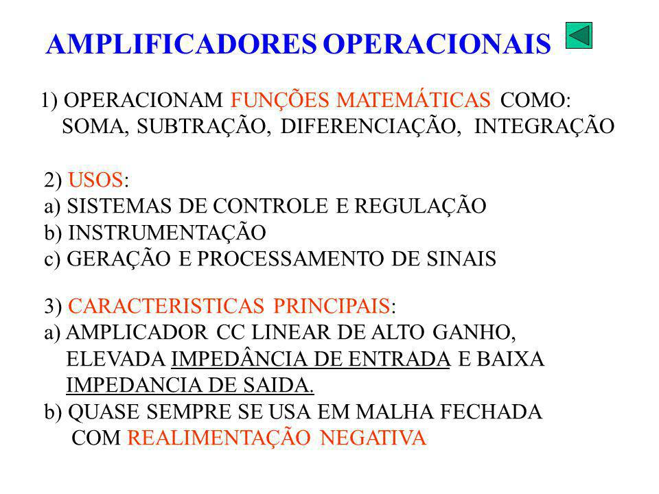 1) OPERACIONAM FUNÇÕES MATEMÁTICAS COMO: SOMA, SUBTRAÇÃO, DIFERENCIAÇÃO, INTEGRAÇÃO 2) USOS: a) SISTEMAS DE CONTROLE E REGULAÇÃO b) INSTRUMENTAÇÃO c)
