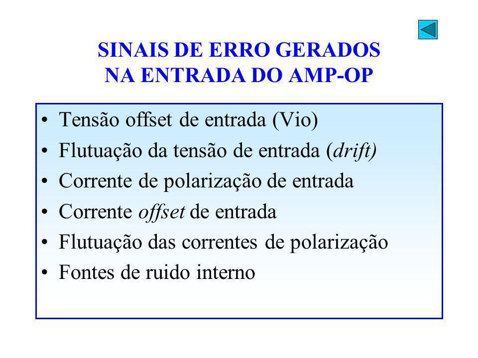 SINAIS DE ERRO GERADOS NA ENTRADA DO AMP-OP Tensão offset de entrada (Vio) Flutuação da tensão de entrada (drift) Corrente de polarização de entrada C